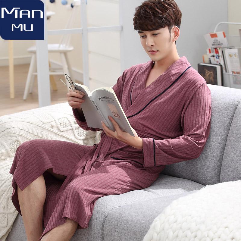 Bộ đồ ngủ nam mùa xuân và mùa thu mỏng mảnh cotton rộng kích thước trung niên cha giản dị trung dài tay dài đồ ngủ dịch vụ nhà - Night Robe