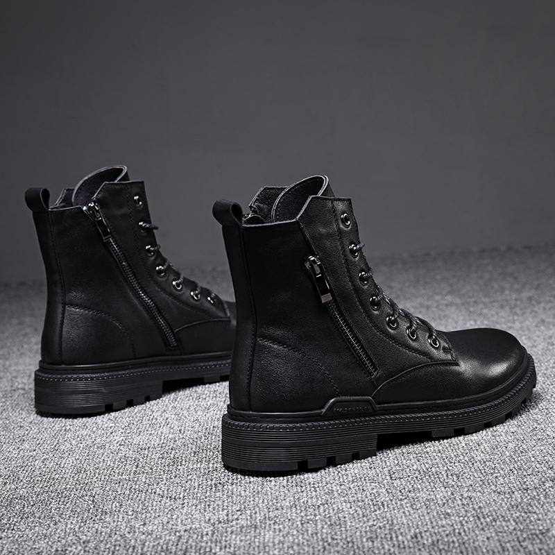 Giày cao cổ nam mùa đông Giày bốt Martin cộng với nhung ấm cao Giày da cao cấp chân dầm dài Giày nam dài ống giản dị - Giày ống