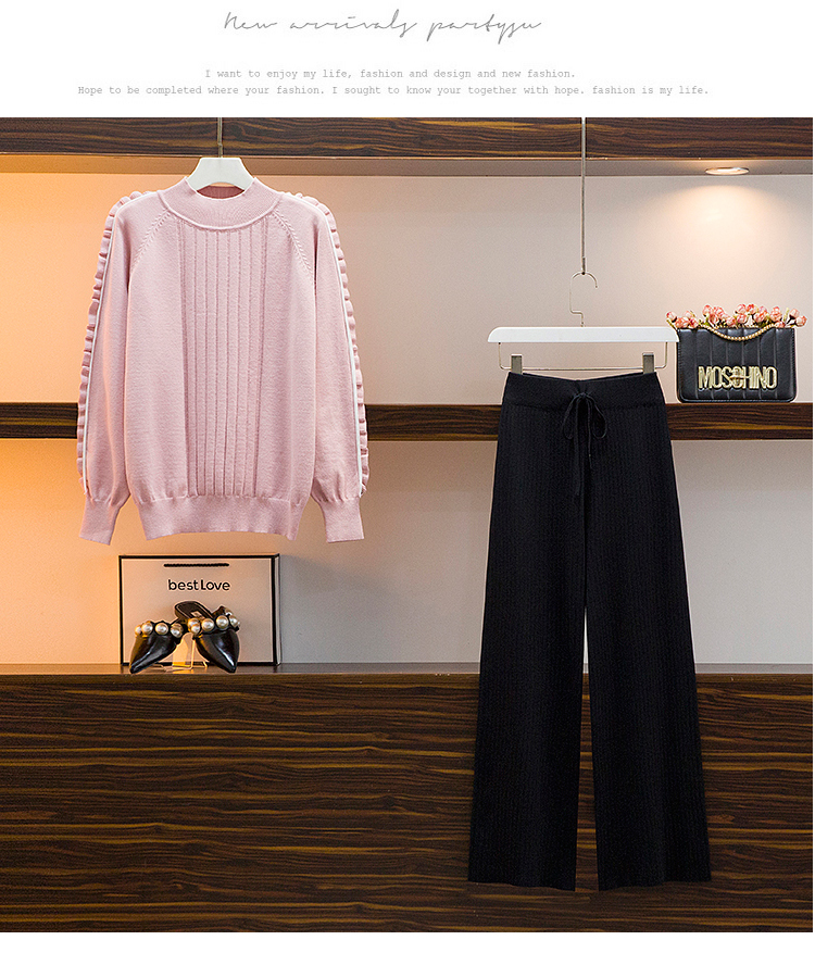 Broad-legged pants set 2020 autumn/winter new female lazy wind sweater casual pants two-piece set of foreign air-reducing pants 53 Online shopping Bangladesh