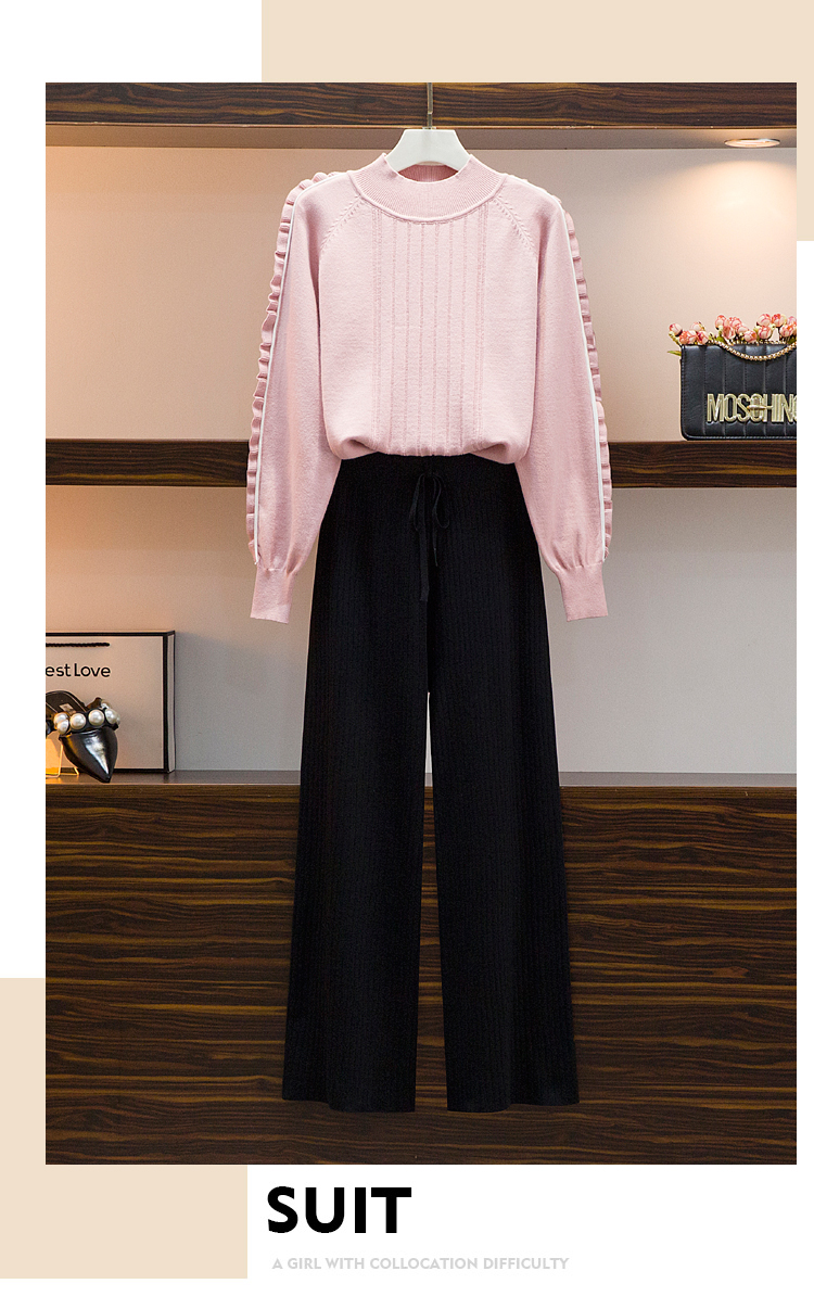 Broad-legged pants set 2020 autumn/winter new female lazy wind sweater casual pants two-piece set of foreign air-reducing pants 41 Online shopping Bangladesh