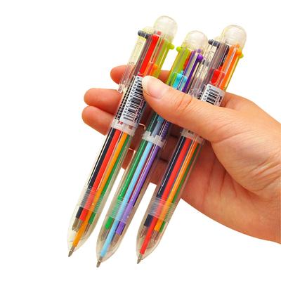 sT日韩国创意可爱卡通多色圆珠笔多功能按动彩色个性油笔文具6色笔