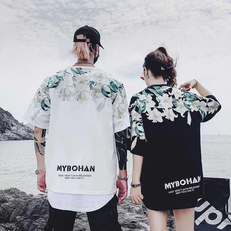 潮牌上衣半袖oversize短袖学生hiphop情侣大码宽松短袖嘻哈T恤女