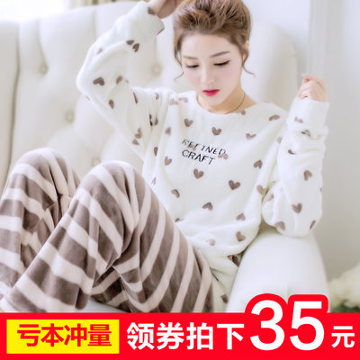 Autumn and winter coral velvet pajamas women winter warm thickening plus velvet fluff cute flannel winter home clothing suit