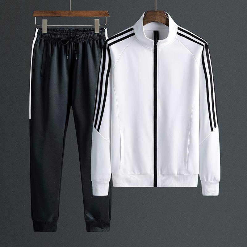 2020春秋季新款跑步立領開衫外套中年男士健身休閑運動套裝兩件套