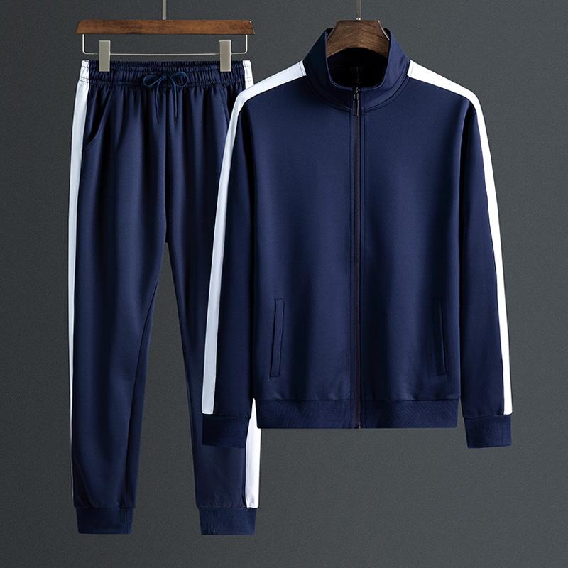 中老年运动套装立领春秋季开衫v立领百搭简约两男士爸爸件套运动服
