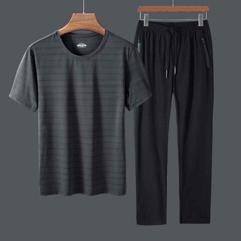 男士运动套装夏季2020新款冰丝网眼短袖长裤运动服跑步休闲两件套