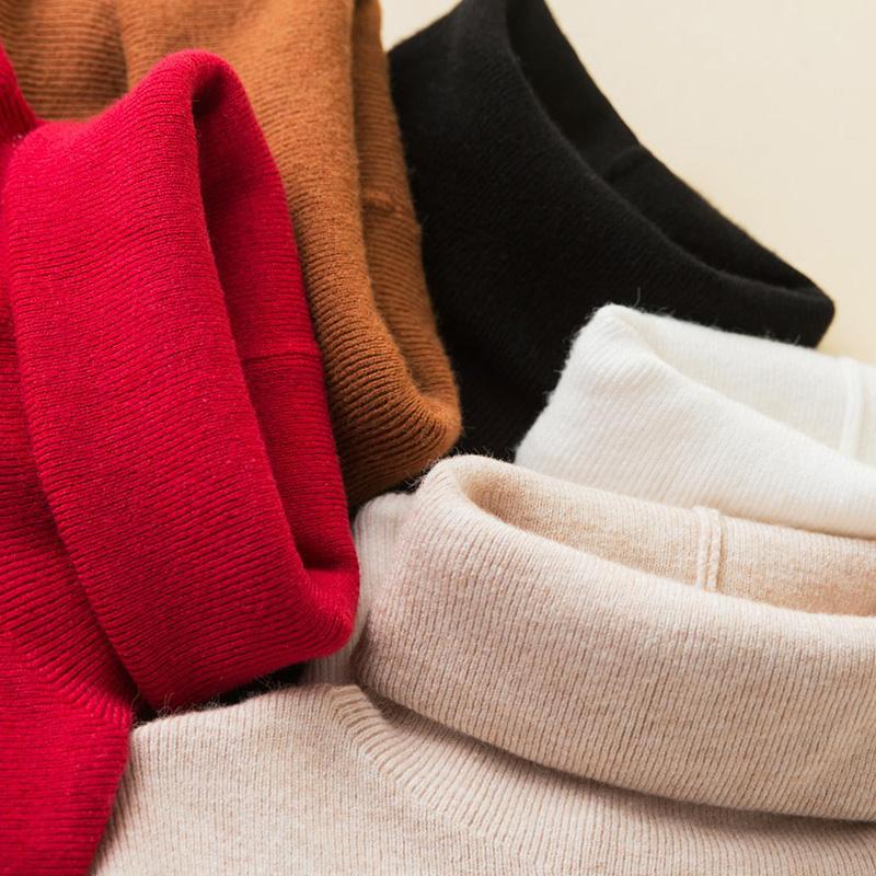 2018秋冬新款堆堆领短款高领打底衫女套头纯色针织衫紧身显瘦毛衣