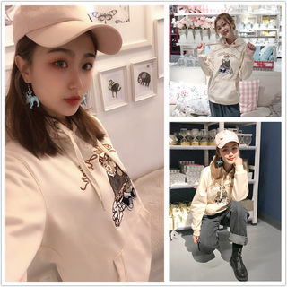 Bear Waste Women 2021 Spring Thin Embroidery Korean version of hooded jacket casual loose large size plus velvet tide