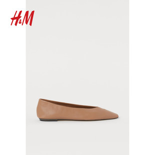 HM women's shoes single shoes flat shoes 2020 spring and summer new leather ballet pumps ladies shoes 0861547