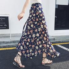 一片式半身裙女夏高腰系带碎花沙滩裙
