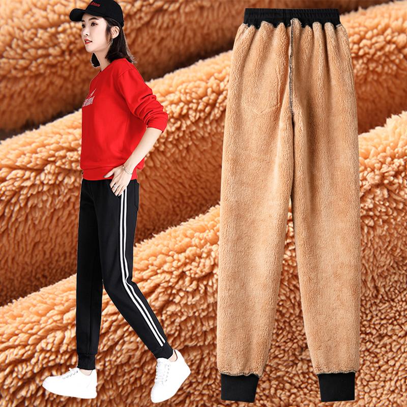 加绒运动裤女大码冬季外穿加厚保暖棉裤宽松胖MM休闲羊羔绒卫裤子