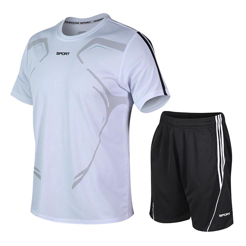 男士休闲两件套夏季新款圆领印花短袖时尚大码速干透气短裤男套装
