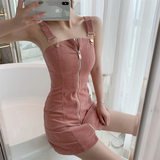 Skirt 2020 new summer first love bellflower dress French niche small one-word shoulder strap skirt