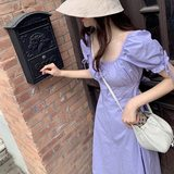 Skirt 2020 new summer gentle wind high-waisted dress with waist and thin temperament square collar French bellflower skirt