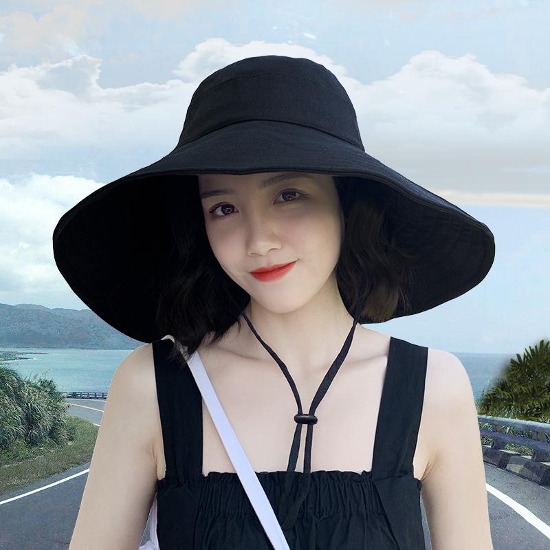 ziy 大檐渔夫帽女夏遮阳防晒韩版百搭潮日系纯色防紫外线太阳帽子