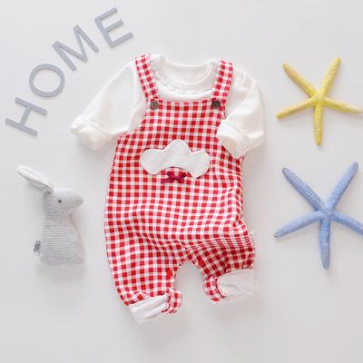 新生婴幼儿纯棉长袖背带裤两件套