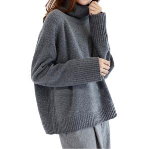 淘曼绒羊毛慵懒高反领加厚针织衫