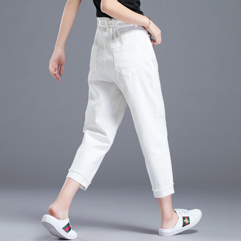 女士老爹女宽松夏季薄款休闲裤八分七分裤白色萝卜裤裤子裤哈伦裤