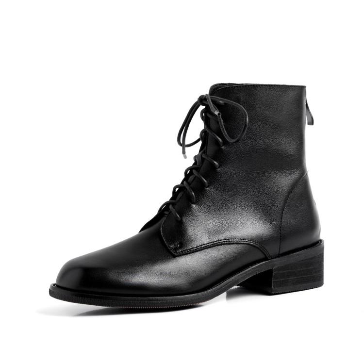 短靴冬系带中跟复古粗跟百搭真皮马丁靴女加绒英伦风黑色帅气女靴