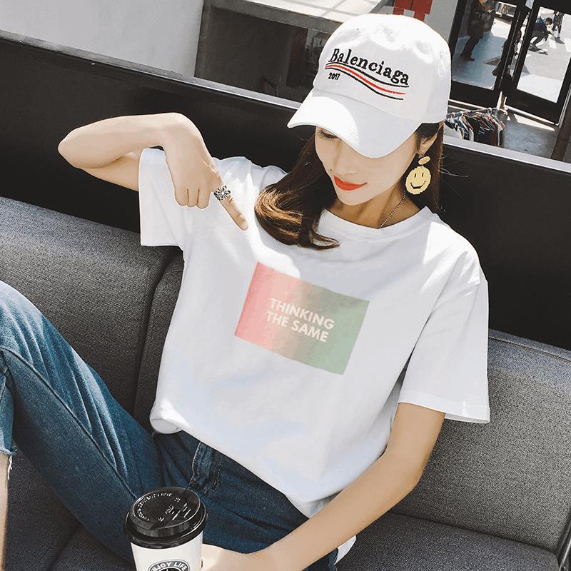 2件59】2018新款夏装白色短袖t恤女装宽松韩版韩范学生半袖上衣潮