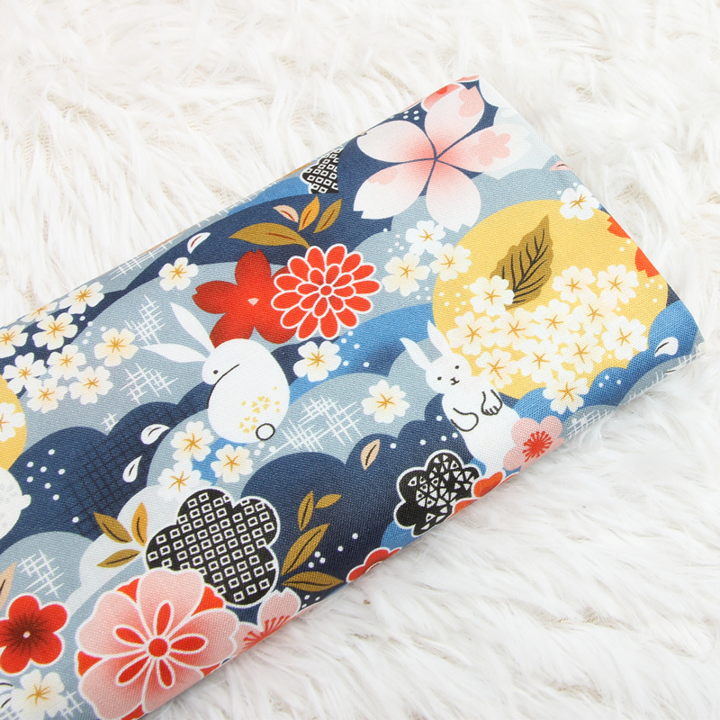 日系和风小兔子印花面料 手工DIY 包包服装连衣裙娃衣面料纯棉
