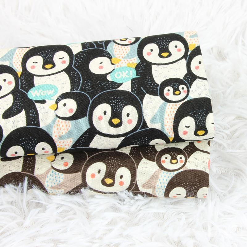 台湾厚棉布动物企鹅印花布料 手工DIY 口金包包服装面料纯棉