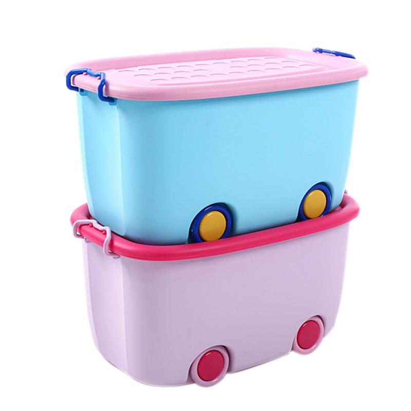 沃之沃特大号储物箱儿童玩具卡通塑料收纳箱带轮衣物置物整理箱子