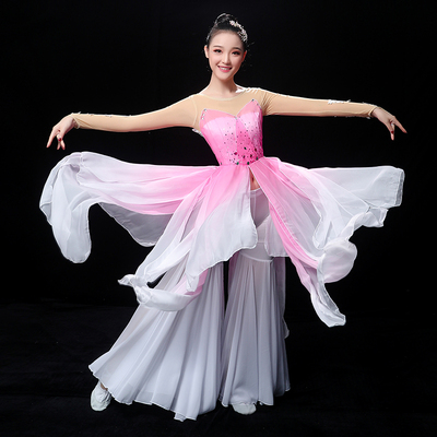 Chinese Folk Dance Costume Classical Dance Costume Female Modern Fan Yangge Costume Performing Apparel Fengjiangnan Umbrella Dance Fairy Suit of China