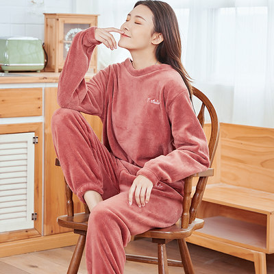 Pajamas ladies fall/winter flannel suit warm coral fleece home service winter 2021 new style plus velvet thickening