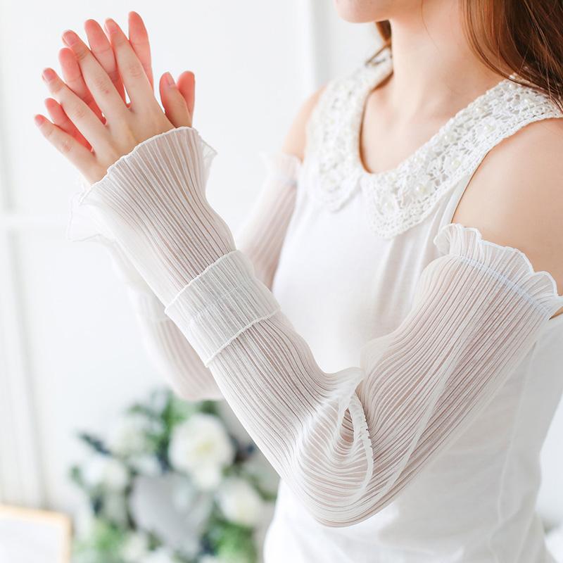 夏季冰絲防曬手套袖子手臂薄款紫外線套袖女寬松蕾絲袖套護臂長款