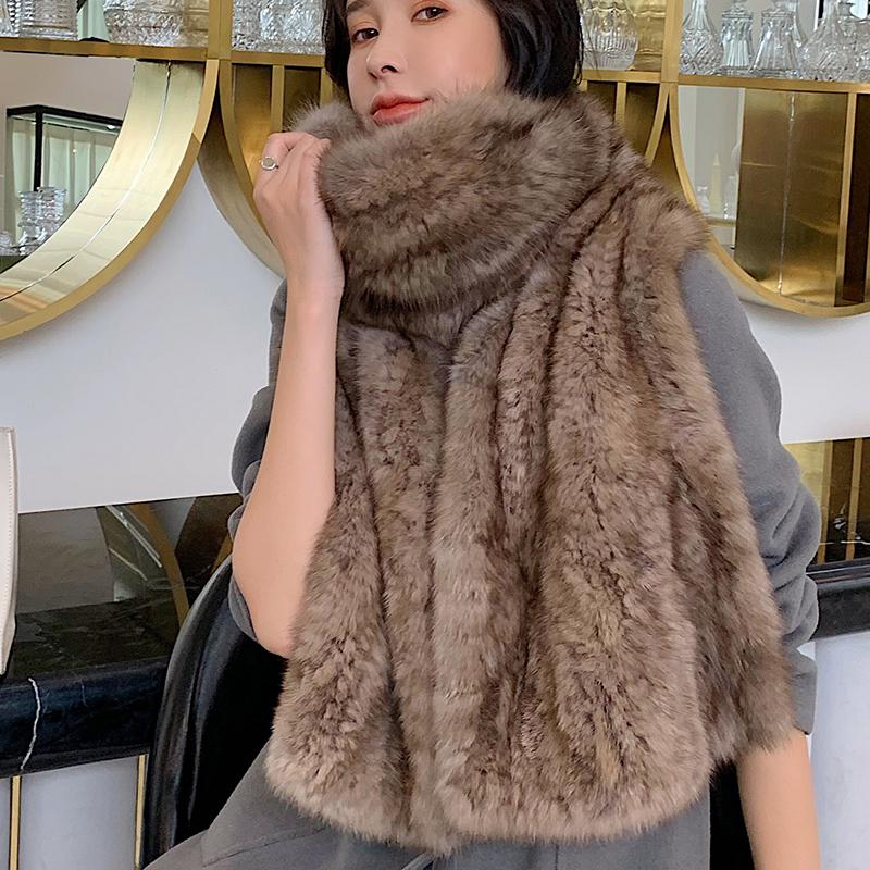 盾袄奢华水貂毛围脖大紫貂女士冬季a水貂大披肩整皮送礼围巾编织