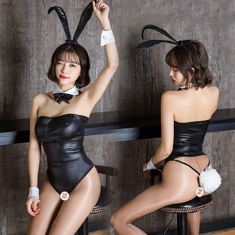 Sexy lingerie PU open crotch bunny uniform Sao sexy tease three-point small chest jumpsuit passion suit