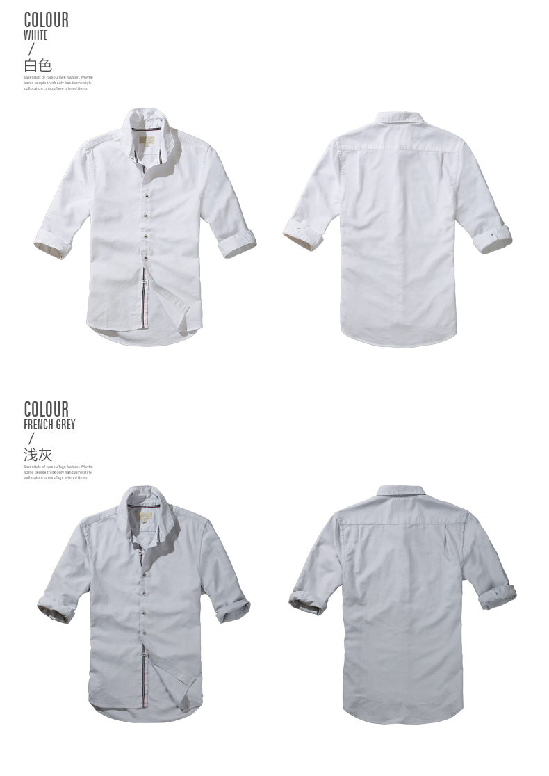 Match Maggie autumn solid color shirt plus fattening plus shirt large size Oxford spinning shirt men's mid-sleeve G1501 39 Online shopping Bangladesh