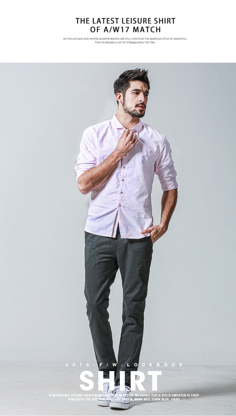 Match Maggie autumn solid color shirt plus fattening plus shirt large size Oxford spinning shirt men's mid-sleeve G1501 34 Online shopping Bangladesh