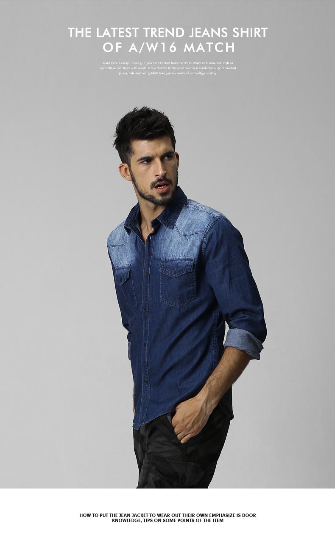 Match Maggi denim shirt men's long-sleeved jacket autumn trim collar shirt trend denim jacket G2265 33 Online shopping Bangladesh
