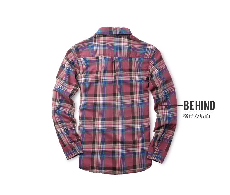 Match Maggie men's lad shirt long-sleeved shirt cotton casual autumn thin square collar top tide G2307 (G2307 Grid 7 5XL) 39 Online shopping Bangladesh