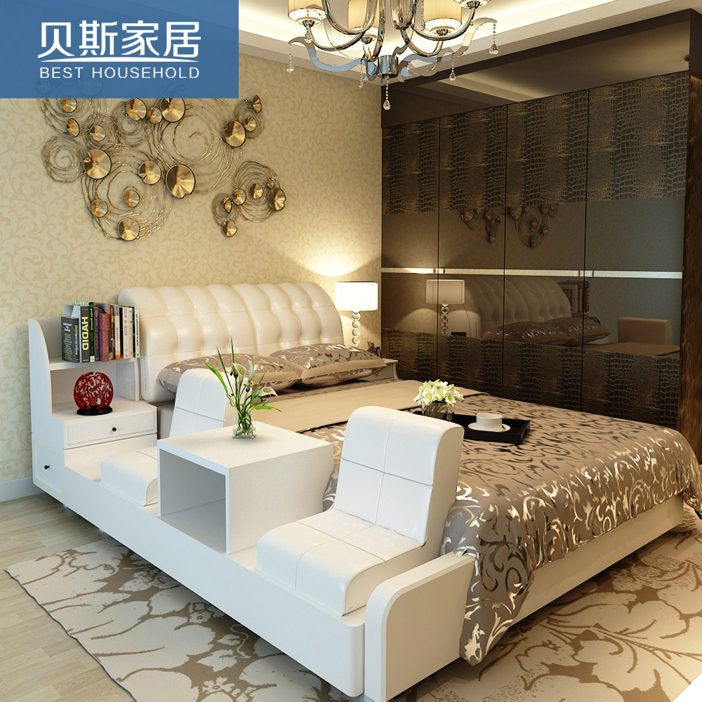 Leather bed genuine leather bed Korean-style tatami bed modern minimalist  leather beds double bed 1 8 m soft bed marriage bed storage