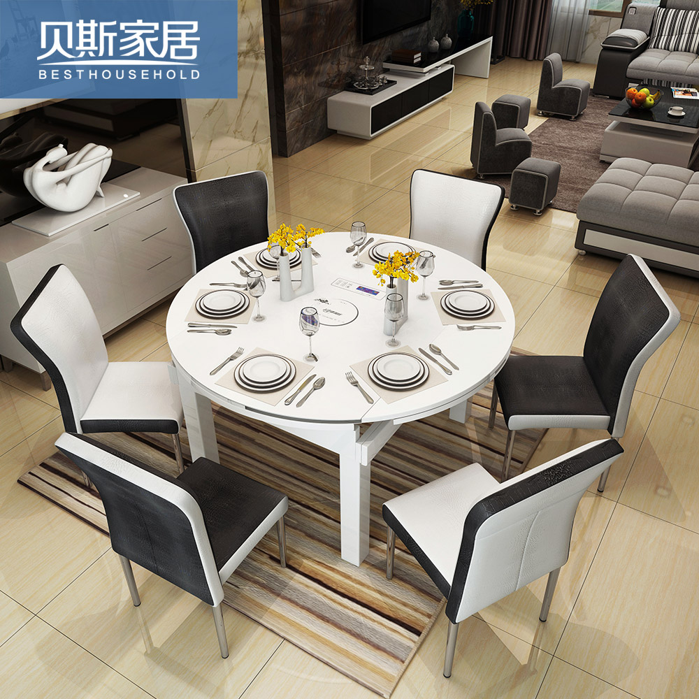 usd retractable solid wood folding dining table round 6 person 8 person multi function. Black Bedroom Furniture Sets. Home Design Ideas
