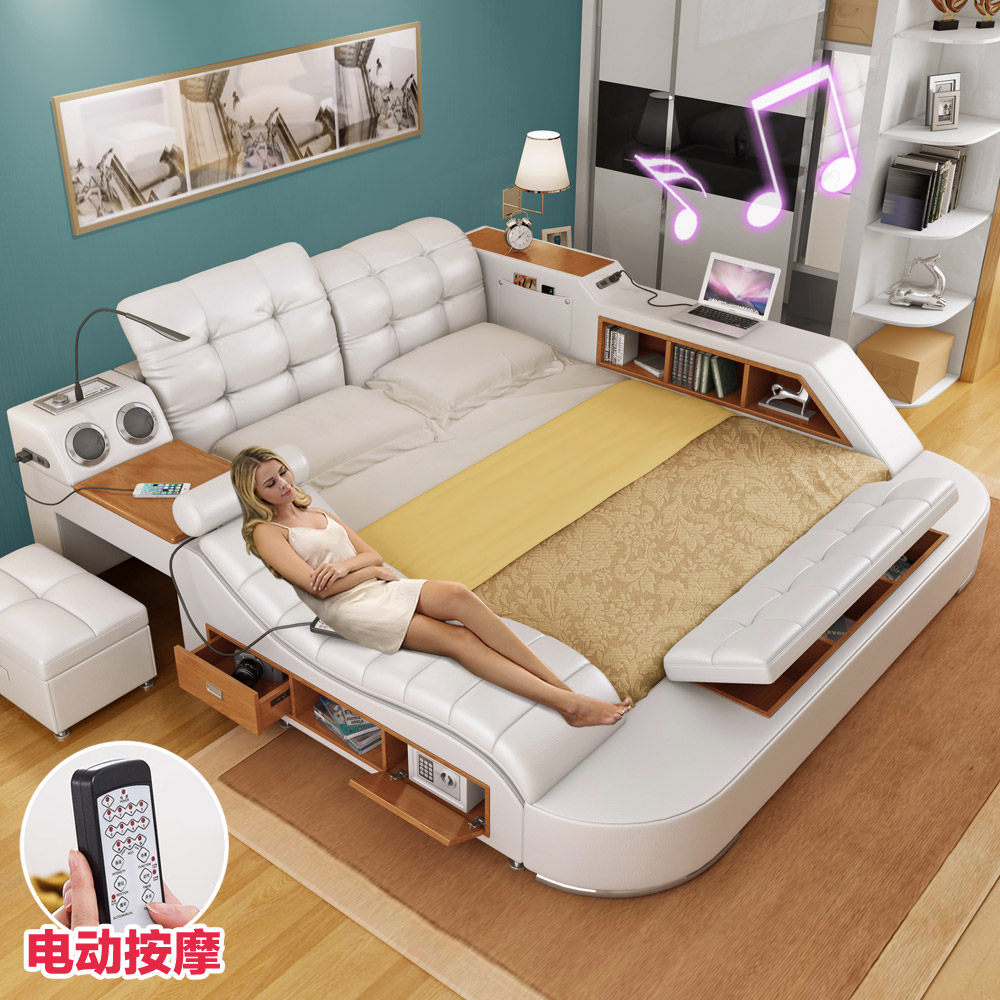Massage Leather Bed Tatami Bed Leather Bed Leather Bed Double Bed 1 8 M Storage Marriage Bed