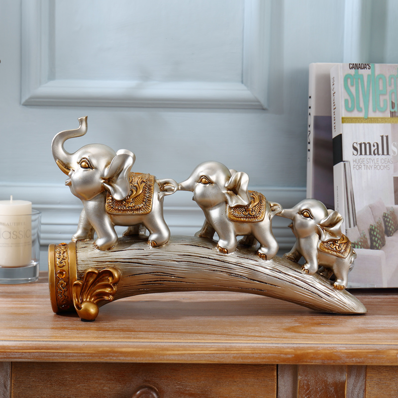 Creative three small elephant home accessories lucky elephant tooth crafts  ornaments living room feng shui three like decoration