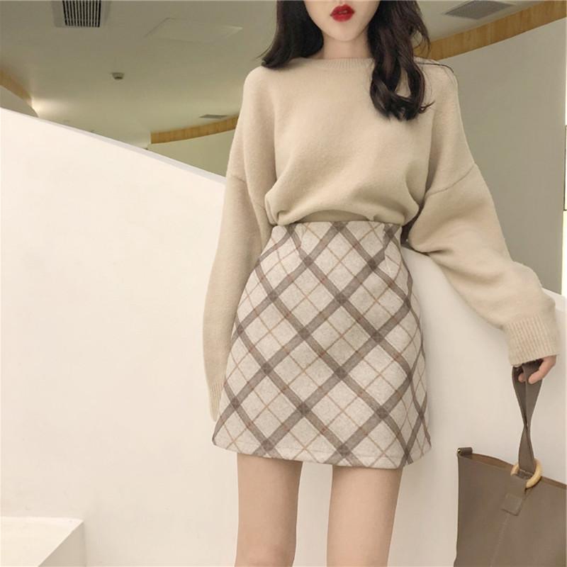 两打底女宽松套装女2018新款针织衫件套秋冬裙子女韩版半身女毛衣
