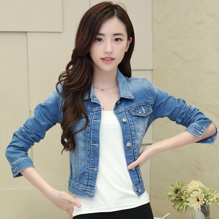 春秋新品女装 铆钉款短款长袖显瘦个性百搭牛仔外套上衣