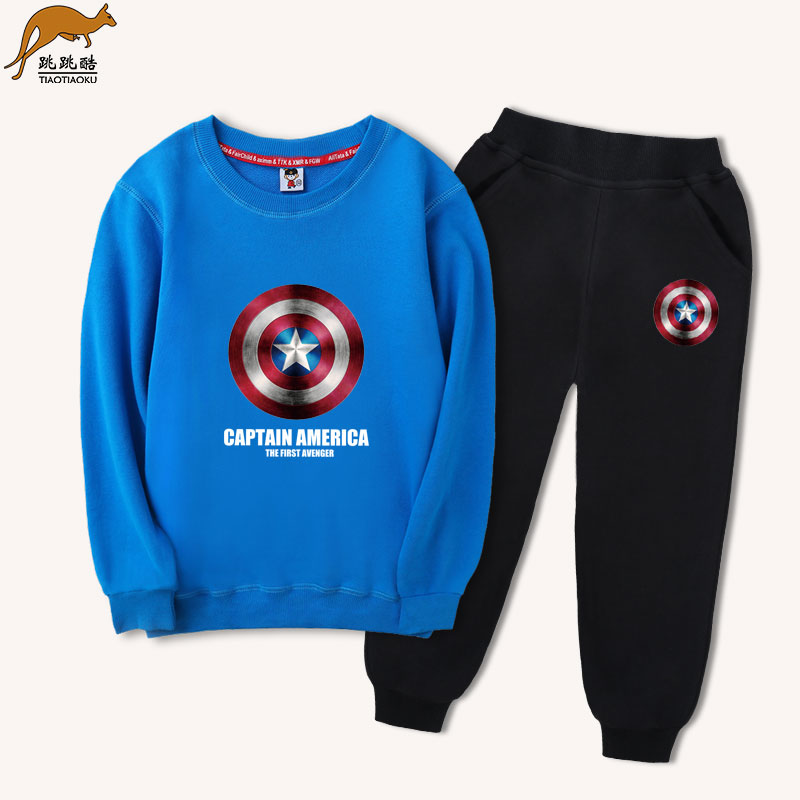 Children's Western set boys in the Big children's sports sweater 2019 new spring and autumn Korean version loose two-piece set of pure cotton