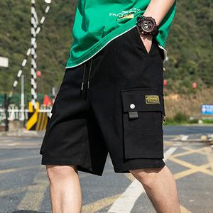 短裤男纯棉2020年夏季潮流宽松五分工装马裤潮牌七分薄款休闲裤子