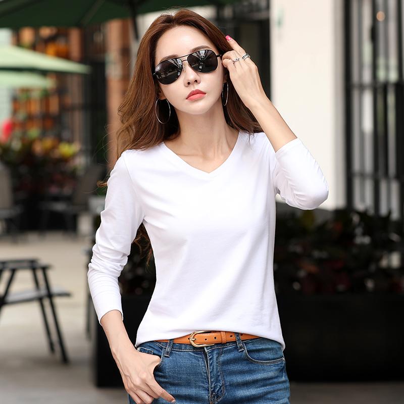2019新款秋季女装纯棉女士白色t恤女时尚宽松长袖体恤上衣打底衫