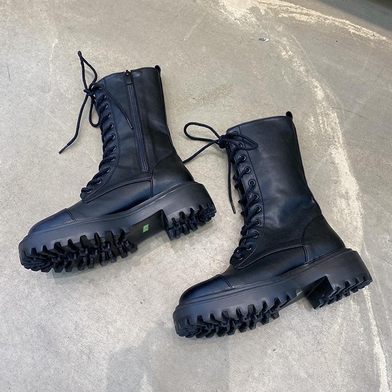小跑牛鞋首爾留學生馬丁靴子女圓頭系帶拼接防滑厚底粗跟帥氣中筒機車靴B3