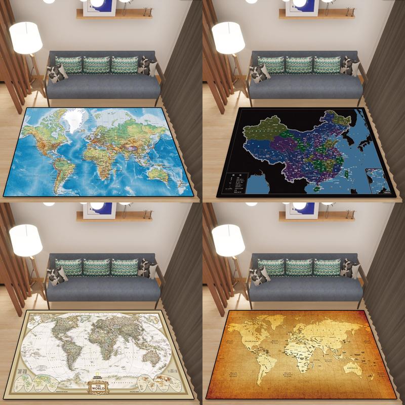Bản đồ thế giới Mỹ retro đầy đủ cửa hàng thảm quá khổ pad nhà phòng ngủ phòng khách bàn cà phê đầu giường chống trượt thấm - Thảm