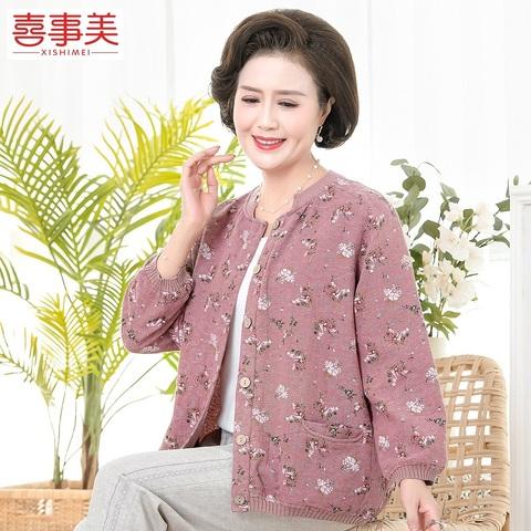 中老年人女装春秋外套纯棉妈妈装2020新款小衫老人奶奶大码上衣服