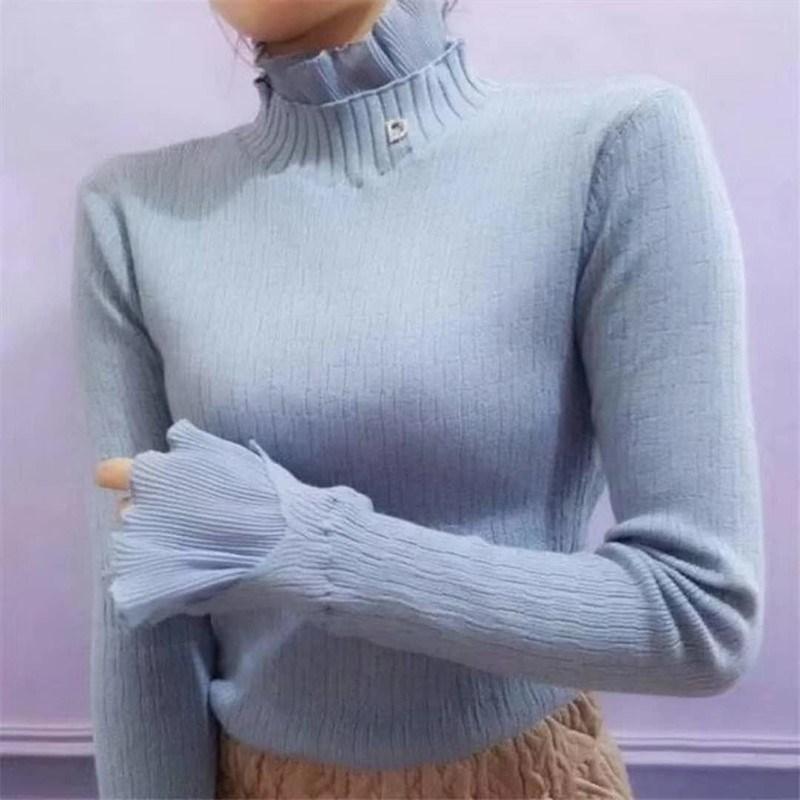 秋冬季新款套头蕾丝毛衣领拼接衫加绒雪纺袖木耳边花边