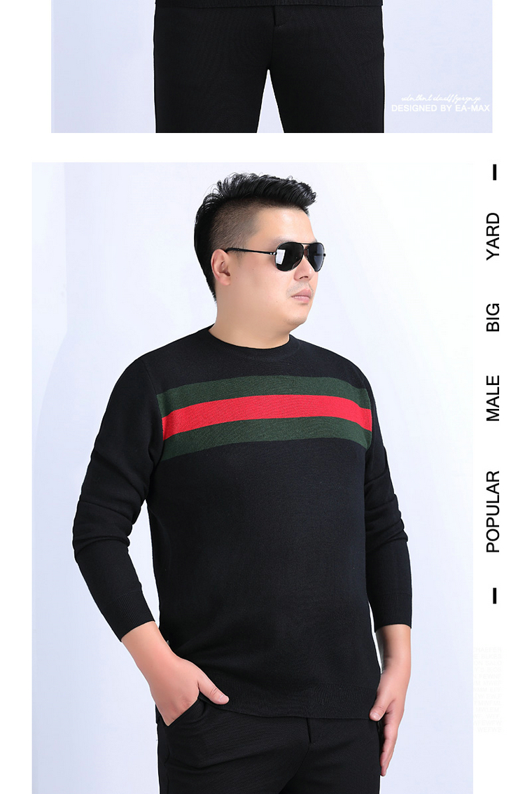 Áo len nam mùa xuân và mùa thu rộng màu nhấn áo thun cộng với chất béo cộng với size cổ tròn áo len nam công sở - Kéo qua